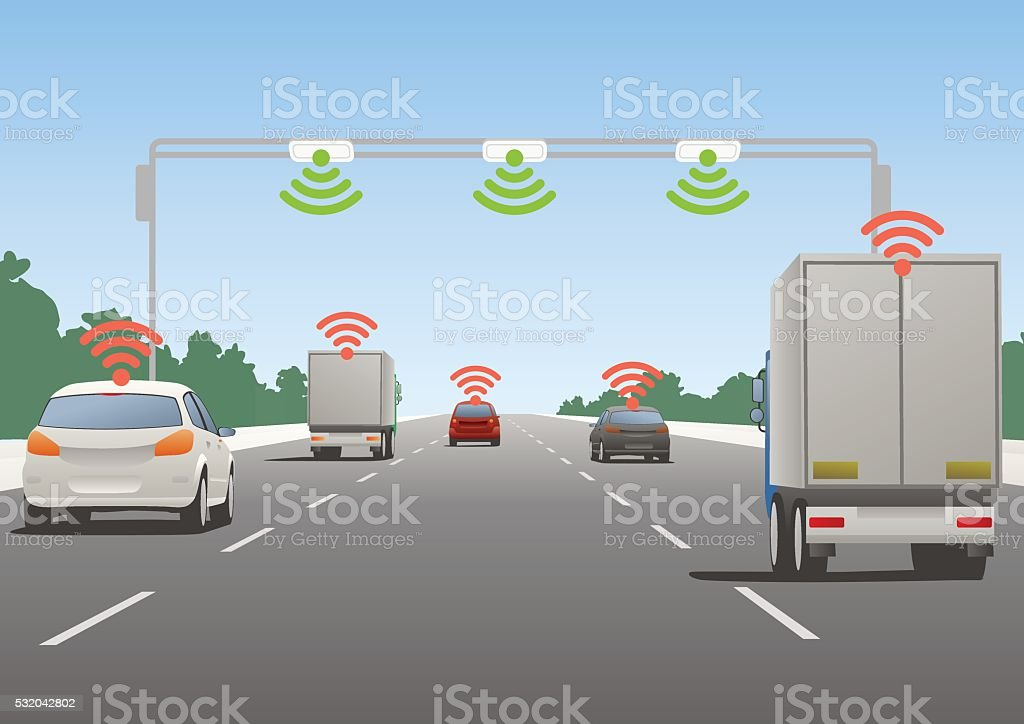 Highway communication system and vehicles vector art illustration