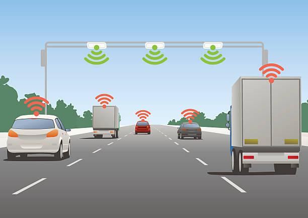 Sistema de comunicación y de los vehículos de carretera - ilustración de arte vectorial