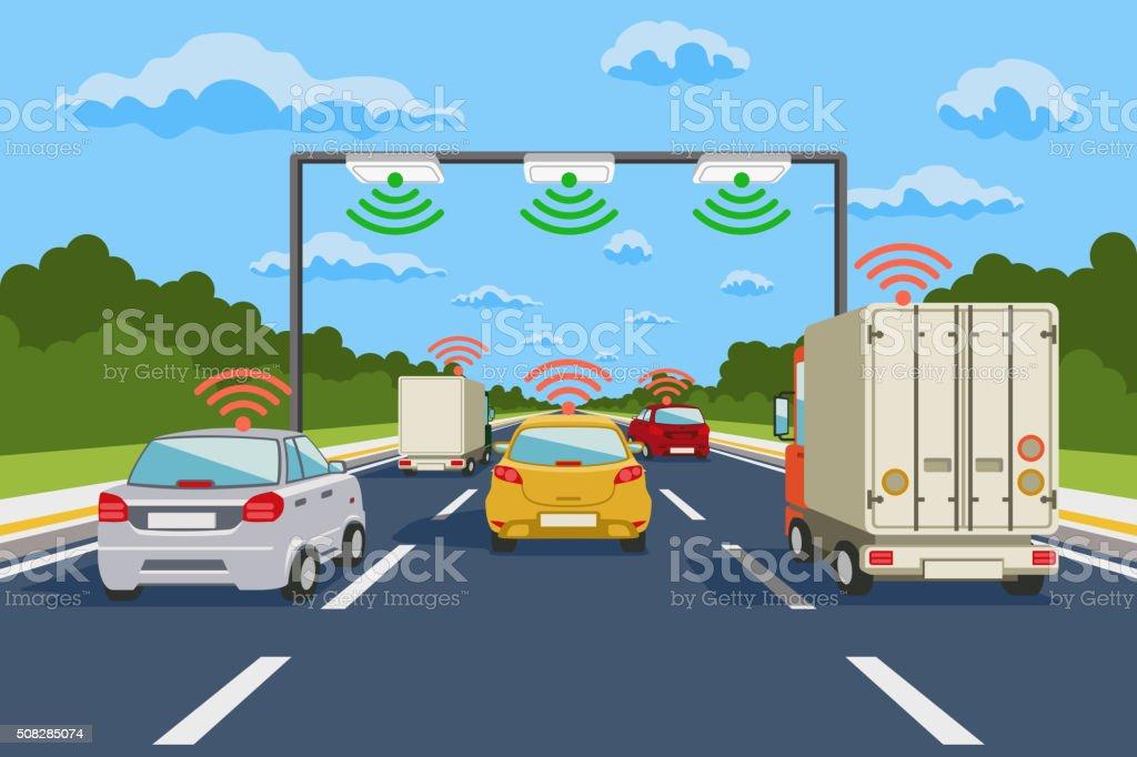 Highway communication system vector infographics vector art illustration