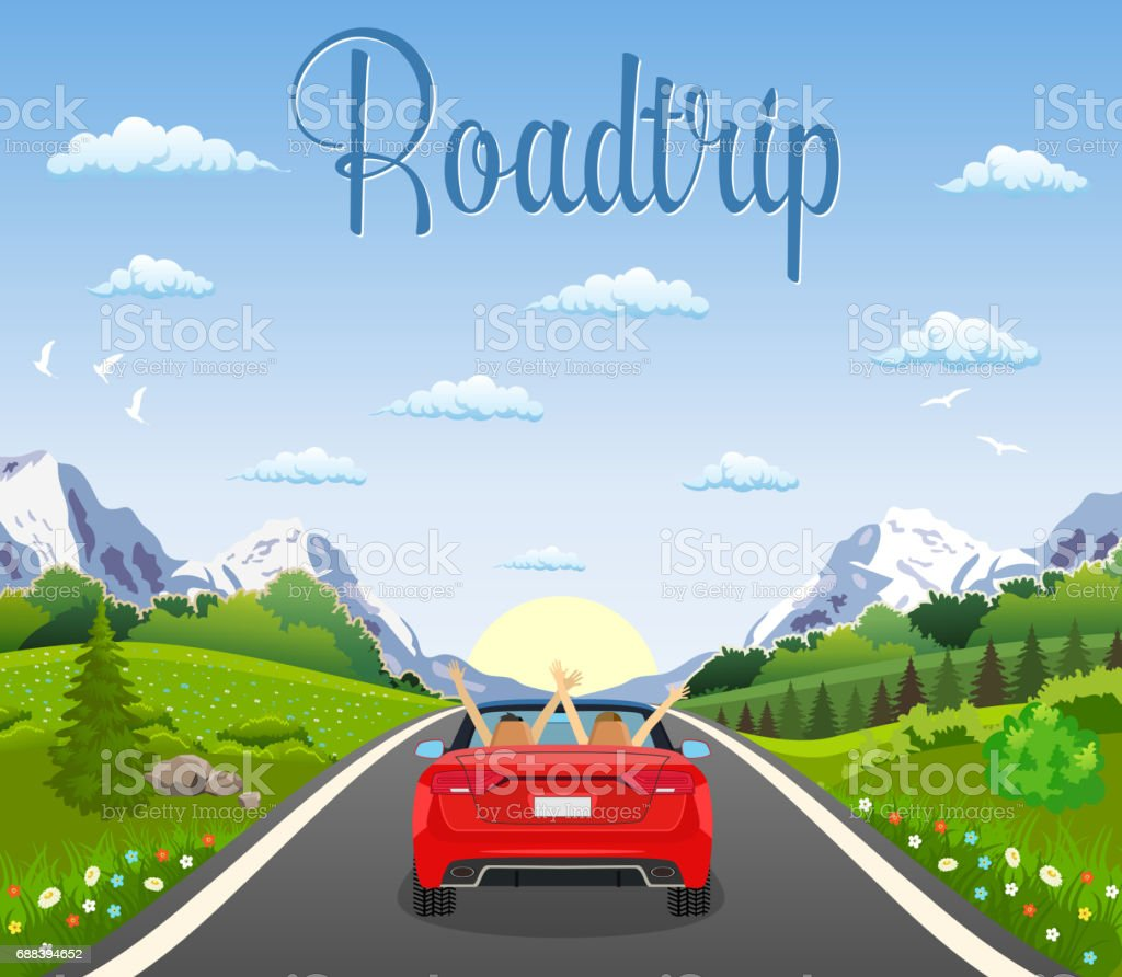 highway drive with beautiful landscape. vector art illustration