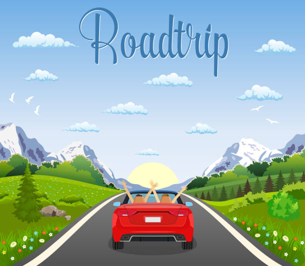 highway drive with beautiful landscape. highway drive with beautiful landscape. Travel road car view. happy free couple in car driving with arms raised. vector illustration in flat design convertible stock illustrations