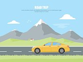 Highway drive with mountain landscape. Car rides on a highway in the background of a mountain landscape. Concept road trip. Outdoor recreation. Vector illustration in flat style.