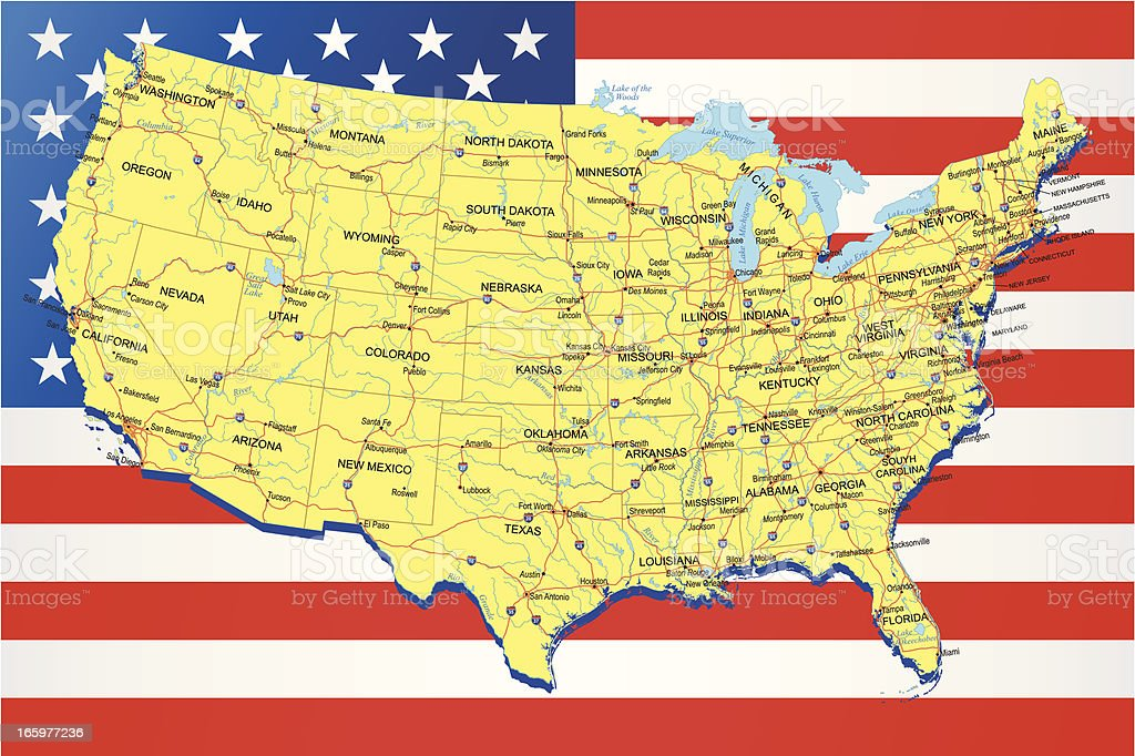 Usa Highway Map On American Flag Background Stock ...