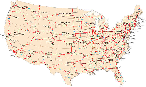 USA highway map illustration of USA highway map for your design and products.  highway stock illustrations