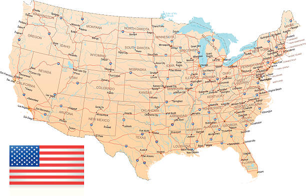 USA - Highway Map vector art illustration