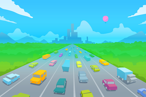 Highway on the background of the modern city in the distance. Colored cars on the big road.
