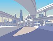 Highway overpass and city skyline in sun light. Modern urban life conceptual vector illustration