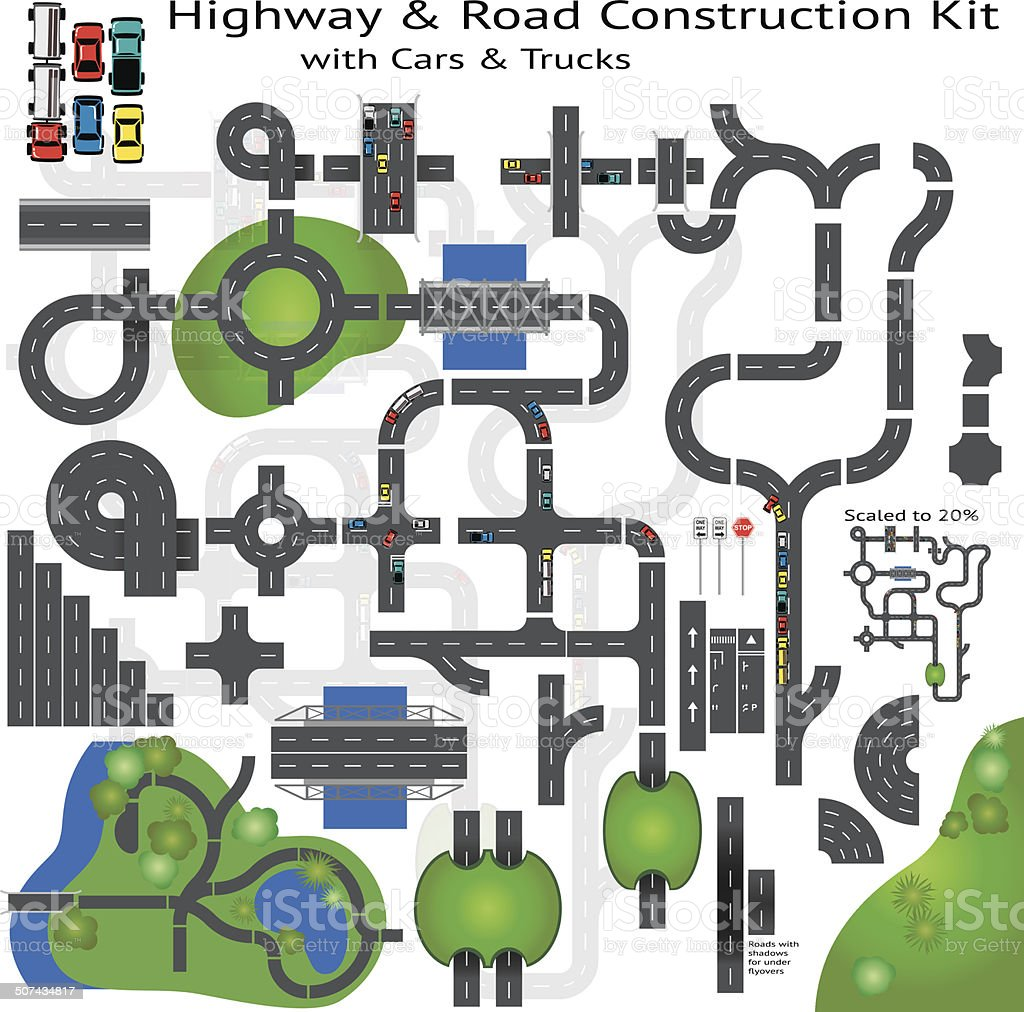 Highway Road Building Construction Kit vector art illustration