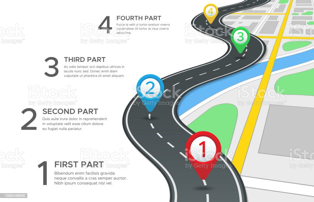 Highway Road Infographic Street Roads Map Gps Navigation Way Path And on