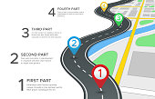 Highway road infographic. Street roads map, gps navigation way path and town journey pin directions sign 3d vector concept
