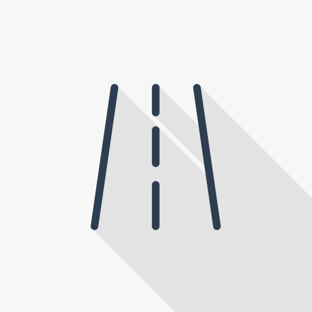 ilustraciones, imágenes clip art, dibujos animados e iconos de stock de carretera, icono de plano de delgada línea de tráfico de transporte. diseño de sombra colores símbolo vector lineal. - señalización vial