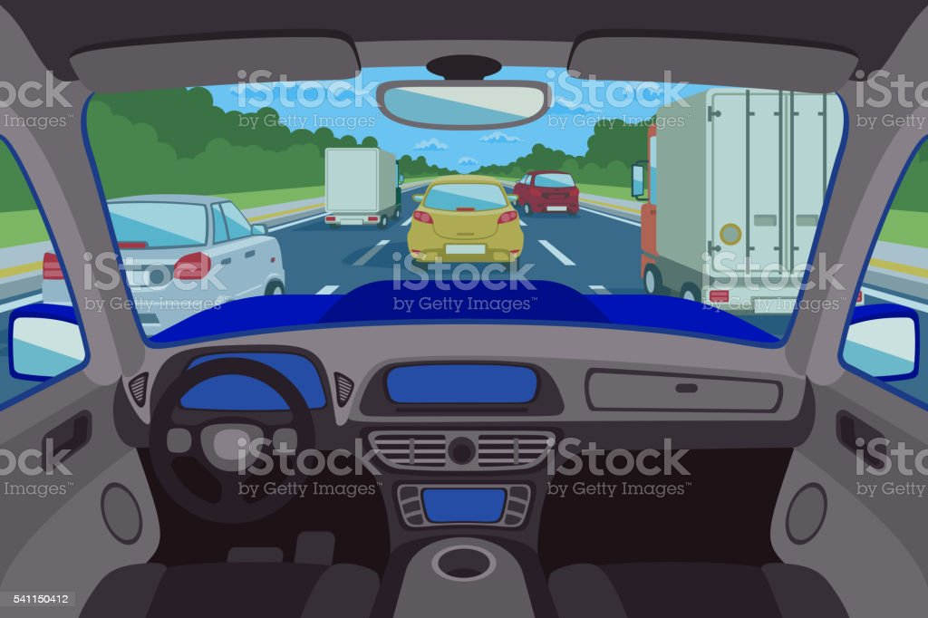 Highway, road viewed inside automobile. Vector illustration vector art illustration