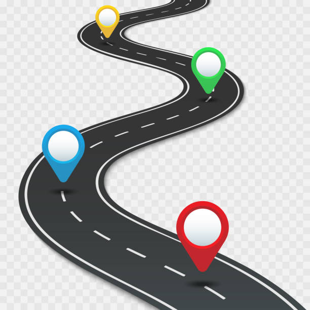 ilustrações de stock, clip art, desenhos animados e ícones de highway roadmap with pins. car road direction, gps route pin road trip navigation and roads business infographic vector illustration - road