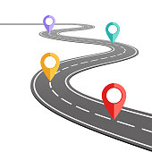 Highway roadmap with pins. Car road direction, gps route pin road trip navigation and roads business infographic vector illustration stock illustration