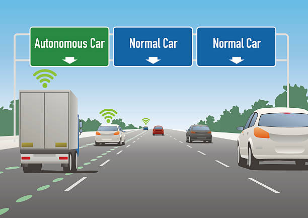 道路標示イラスト、自律走行車レーン、通常のお車のレーン - 自動運転車点のイラスト素材/クリップアート素材/マンガ素材/アイコン素材
