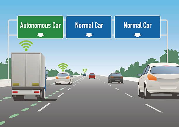 highway sign illustration, autonomous car lane, normal car lane - self driving cars stock illustrations, clip art, cartoons, & icons