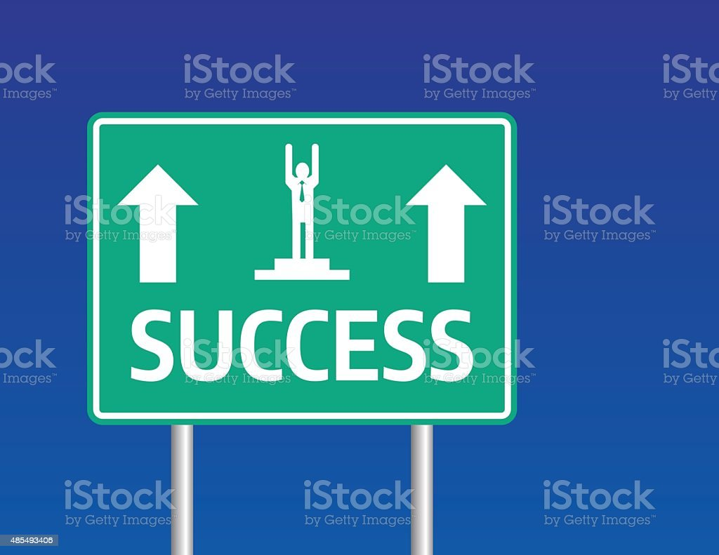 Highway sign with 'SUCCESS' Text vector art illustration