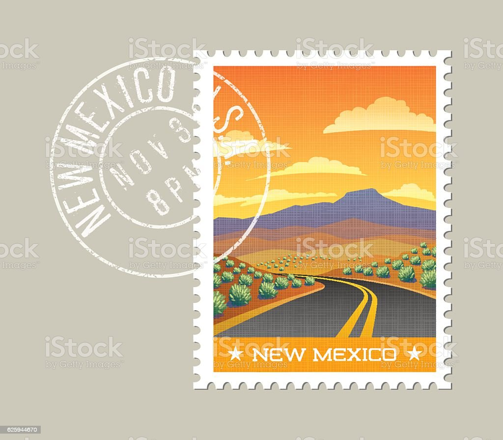 Highway through scenic desert landscape. New Mexico, United States vector art illustration