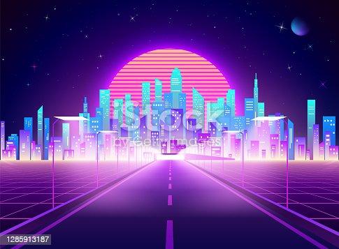 Highway to Cyberpunk futuristic town. Neon retro city landscape. Sci-fi background abstract digital architecture. Vector illustration
