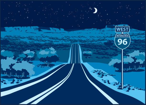 autobahn im westen in der nacht - bergziegen stock-grafiken, -clipart, -cartoons und -symbole