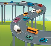 Highway traffic with colourful land vehicles. Zip contains AI, PDF and Jpeg formats.