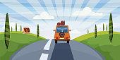 Highway travel summer, road, car cute landscape