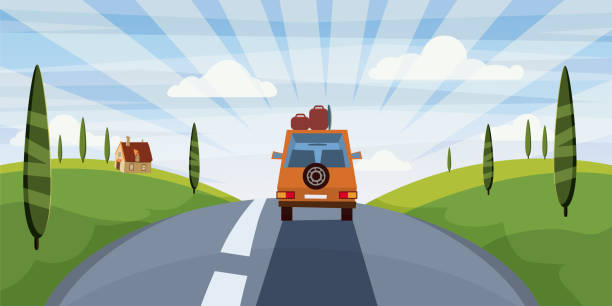 highway travel summer, road, car, cute landscape, cartoon style, vector, illustration, isolated - road trip stock illustrations