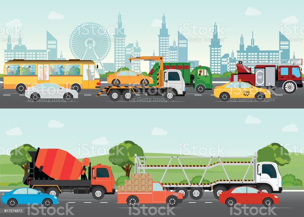 Highways road with many different vehicles. vector art illustration