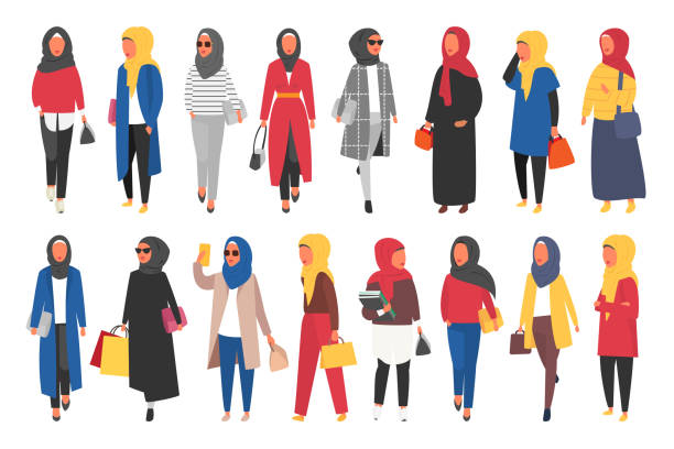 Hijab muslim woman. Arab modern fashion. Vector people Hijab muslim woman set. Modern people in islamic clothes style. Arab saudi modest fashion. People characters vector illustration religious veil stock illustrations