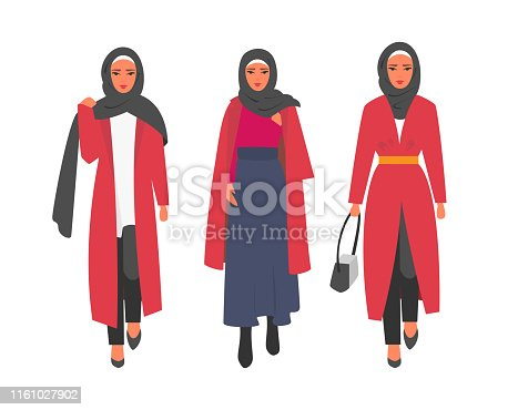 Hijab muslim woman. Modern people in islamic clothes style. Arab saudi modest fashion. People characters vector illustration