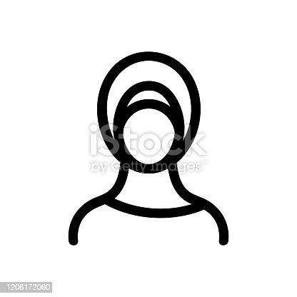 Hijab woman icon vector. Thin line sign. Isolated contour symbol illustration