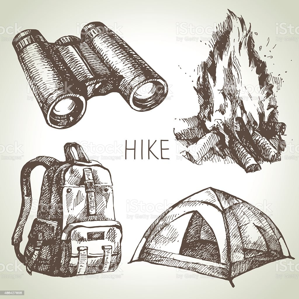 Hike and camping tourism hand drawn set. Sketch design elements vector art illustration