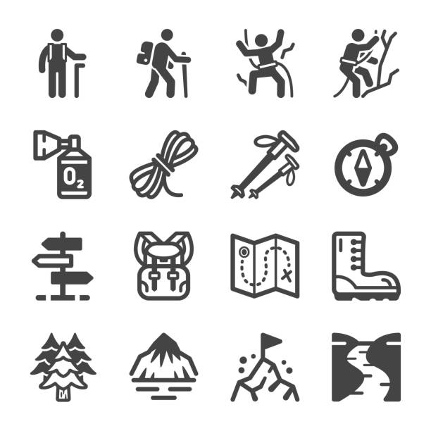 hike icon set hike and trekking icon set,vector and illustration climbing stock illustrations