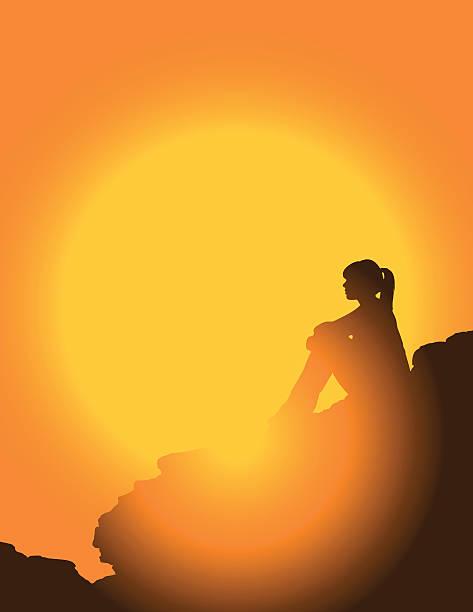 illustrations, cliparts, dessins animés et icônes de randonneur au coucher du soleil - femme seule s'enlacer