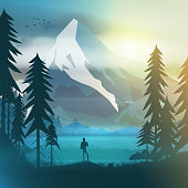 Hiker in forest at sunrise
