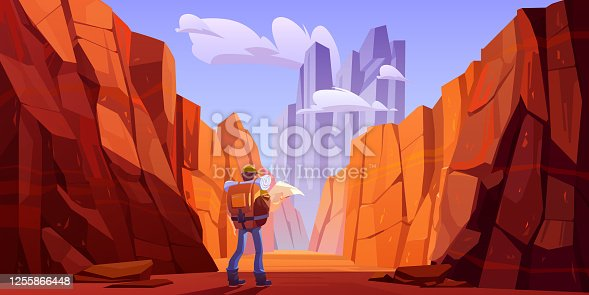 Hiker man with map on desert road in canyon with red mountains. Vector cartoon landscape of nature park with stone cliffs, rocks and tourist backpack for hiking in gorge