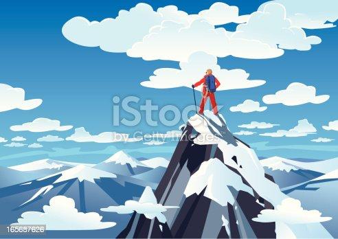 istock Hiker standing on a mountain peak 165687626