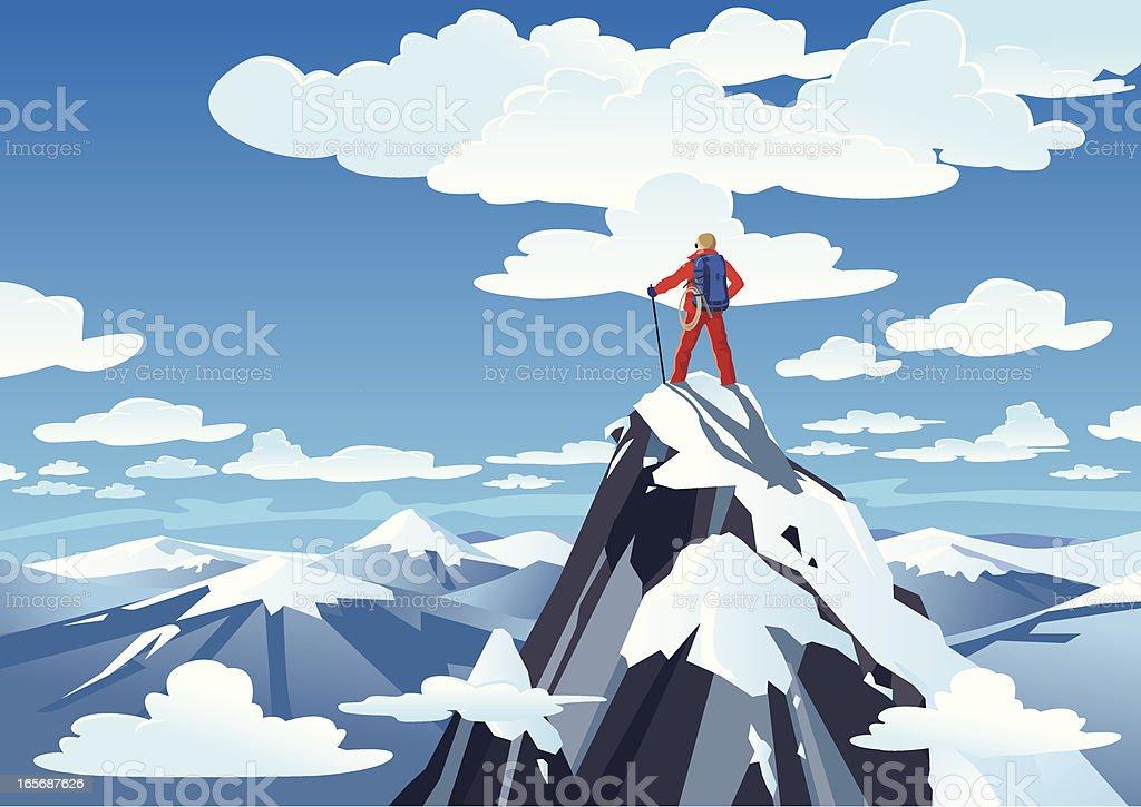 Hiker standing on a mountain peak vector art illustration