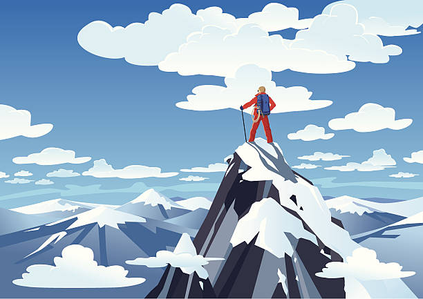 Hiker standing on a mountain peak Hiker standing on a mountain peakhttp://www.twodozendesign.info/i/1.png mountain climbing stock illustrations