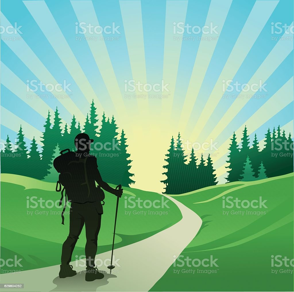 Hiker Waking in the Mountains vector art illustration