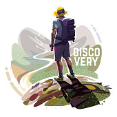 The hiker is standing on top of a mountain with a backpack. Illustration on the tourism topic.