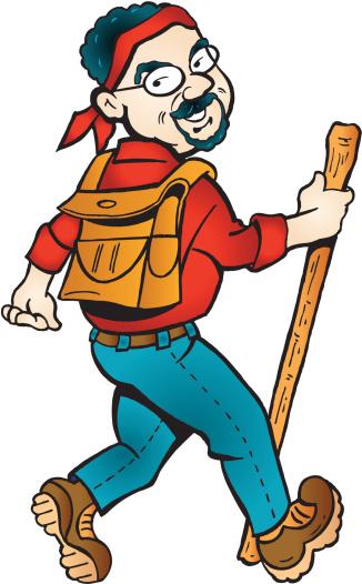 Hiker with Backpack - Cartoon