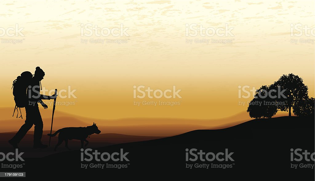 Hiker with Dog and Twilight Background royalty-free stock vector art
