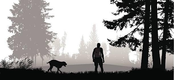 bildbanksillustrationer, clip art samt tecknat material och ikoner med hiker with his dog off leash - hund skog