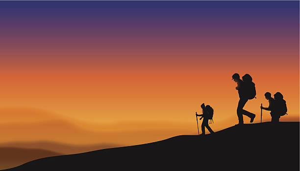 """Hikers at Sunset Background Hikers at Sunset Background. Graphic silhouette illustration of three hikers at sunset. Check out my """"Fitness, Exercise & Running"""" light box for more. adventure backgrounds stock illustrations"""