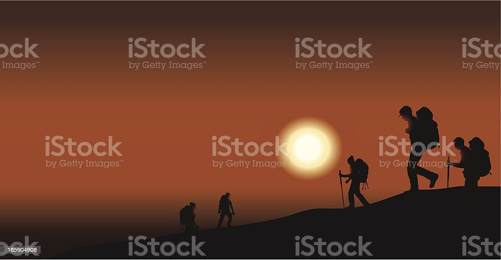 Hikers or Campers at Sunset vector art illustration