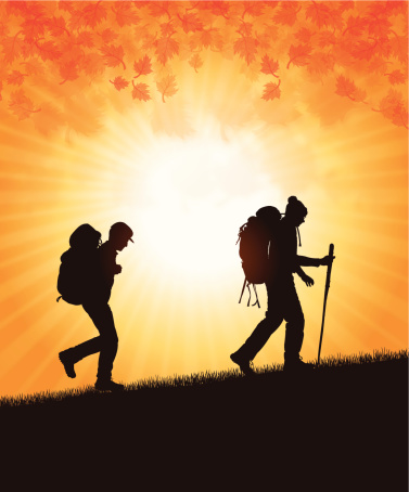 Hikers or Campers in Fall Season - Autumn