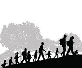 """Hikers or Group of People at City Park Background. Graphic silhouette illustration of a group of hikers. Check out my """"Fitness, Exercise & Running"""" light box for more."""