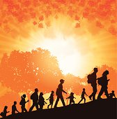 """Hikers or Walk-A-Thon. Graphic silhouette background illustration of hikers or walk-a-thon in Autumn. Check out my """"Fitness, Exercise & Running"""" light box for more."""