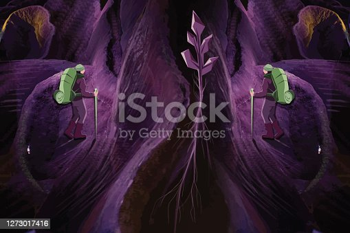 istock Hikers walking in a cave 1273017416